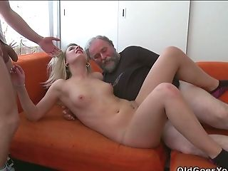 Svelte Blonde Chick Gets Hammered In Mmf Trio Some With Youthfull And Old Boys