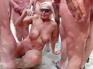 Sexy Naturist Exhibitionist Who Loves Being Showered In Jism