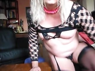 Blonde Chubby Cougar Ambling In Old-school Nylons Big