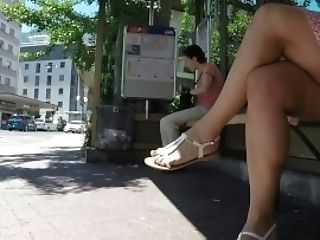 Sexy Cougar Gams Crossed Toes Fledgling Peeping Tom Candid1
