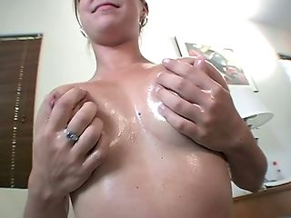 Blonde Hoe Chrissy Exposes Her Big Tits Covered With Oil