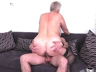 Brief Matures Blonde Bbw Granny Babet Fucked Rear End Style On The Couch