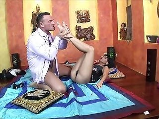 Slender Feet Of Angelica Raven In High High-heeled Slippers Get A Explosion Of Jizm