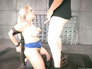 Duo Of Nasty Bondage & Discipline Guys Mouth Fucks Sexy Chesty Blonde Angel Allwood Which Is Tied Up Tightly