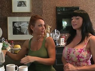 Cougar Lezzie Porn Industry Stars Janet Mason And Karen Kougar In The Kitchen