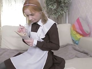 Lovely Ponytailed Light Haired Nymph In Coed Uniform Loves Analfuck A Lot