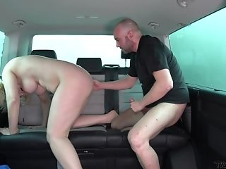 Huge-boobed Blonde Tattooed Mummy Sarah Pounded Hard In A Car