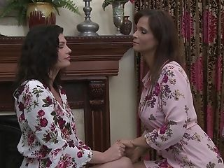 Matures Dark-haired Lesbos Please Each Other In Fishnet Stockings