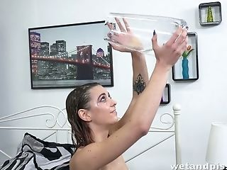 Crazy Chick Tera Link Pours Urine On Her Slender Sexy Figure