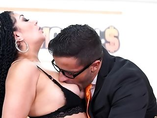 Lengthy Haired Latina Honey Evita Love Rails Her Bosses Trunk At The Office