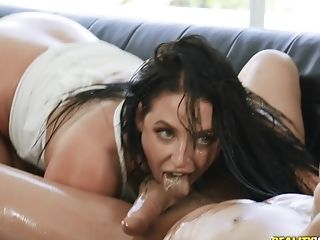 Oiled And Buxom Angela Milky Gets Her Cock-squeezing Cunt Pounded By A Stranger